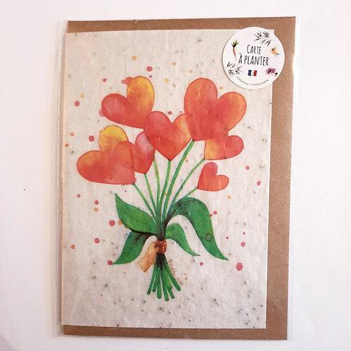 """Carte à planter """"bouquet coeurs"""""""