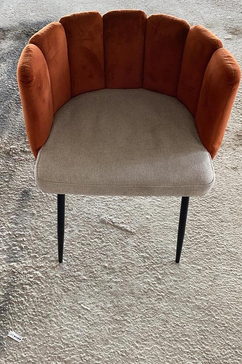 כסא/כורסא קטיפה כתום/חום עם אפור