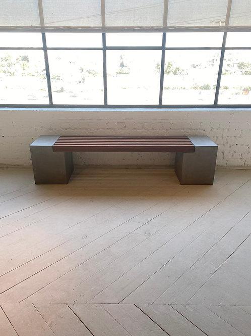 ספסל בטון ועץ