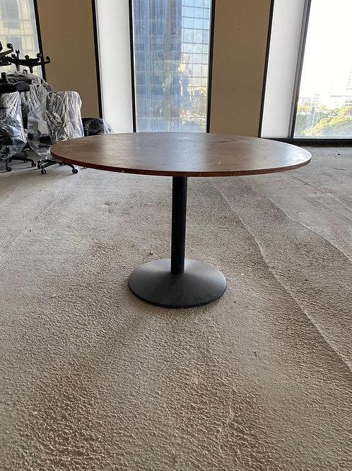 שולחן עץ עגול רגל מתכת