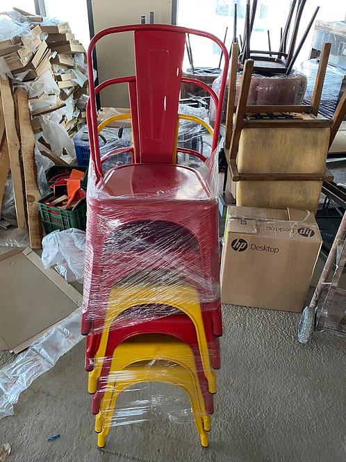 כסא מתכת אדום/צהוב