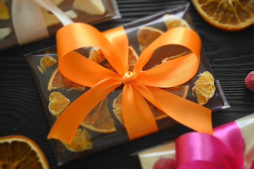 Плитка из колумбийского темного шоколада с мандарином и апельсином. 100 г