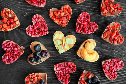 """Мини сердца """"Ассорти"""" из карамельного бельгийского шоколада. 10 шт"""