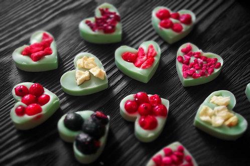 """Мини сердца """"Ассорти"""" из лимонного бельгийского шоколада. 10 шт"""