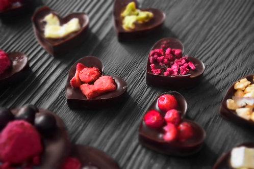 """Мини сердца """"Ассорти"""" из темного бельгийского шоколада. 10 шт"""