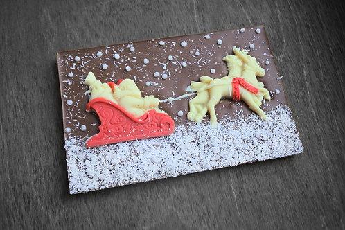 "Плитка из молочного бельгийского шоколада ""Дед мороз на санях"" 120 г"