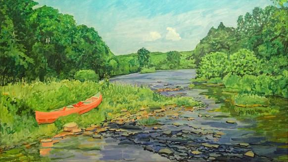 Canoe in the Lackwaxen River