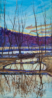 Sunset on Three Ponds and River
