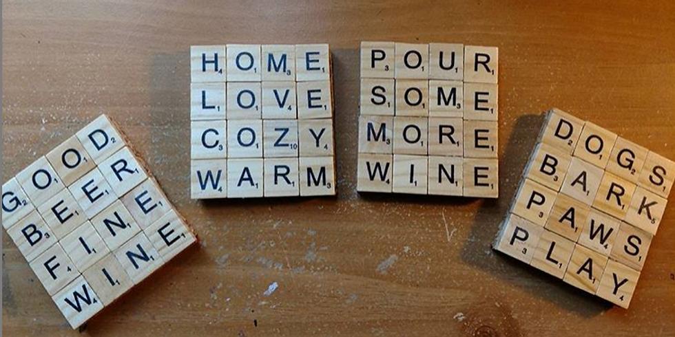 Craft & Sip - Scrabble Coasters