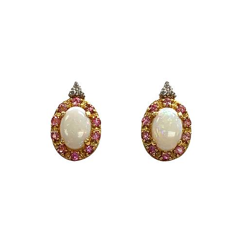 Opal/Pink Tourmaline Earrings (14K)