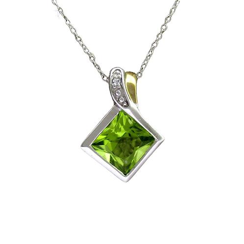 Peridot/Diamond Pendant & Chain (10K)
