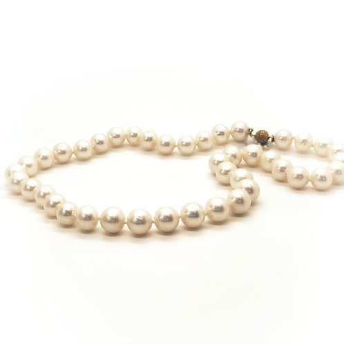 """18"""" Pearl necklace with 14k gold clasp"""