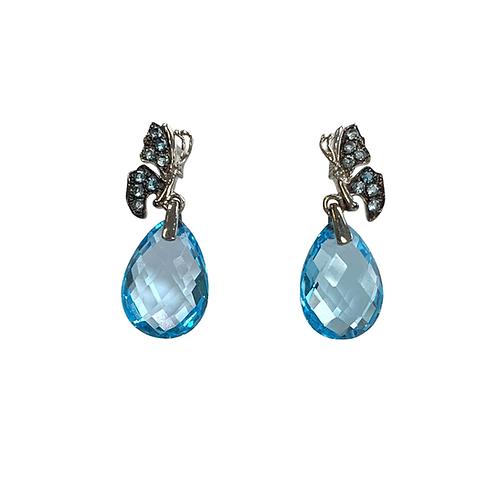 London Blue Topaz/Diamond Earrings (10K)