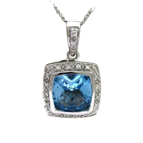 Sky Blue Topaz/Diamond Pendant & Chain (14K)