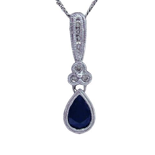 Sapphire/Diamond Pendant (14K)
