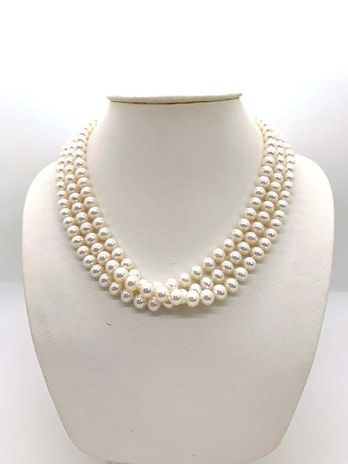 """52"""" white pearl necklace"""
