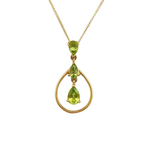 Peridot Pendant & Chain (14K)