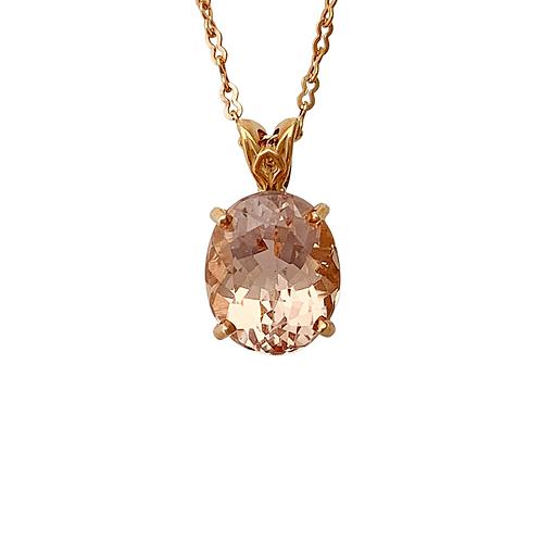 Morganite pendant and chain