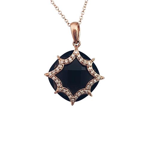 Smokey Quartz/Diamond Pendant & Chain (10K)