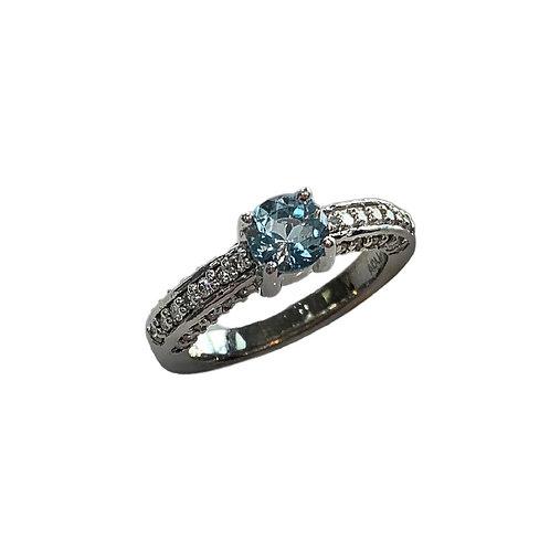 Aquamarine/Diamond Ring (14K)