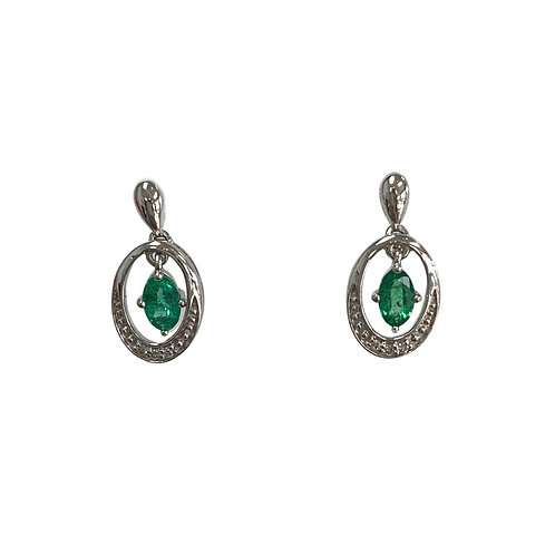 Emerald/Diamond Earrings (10K)