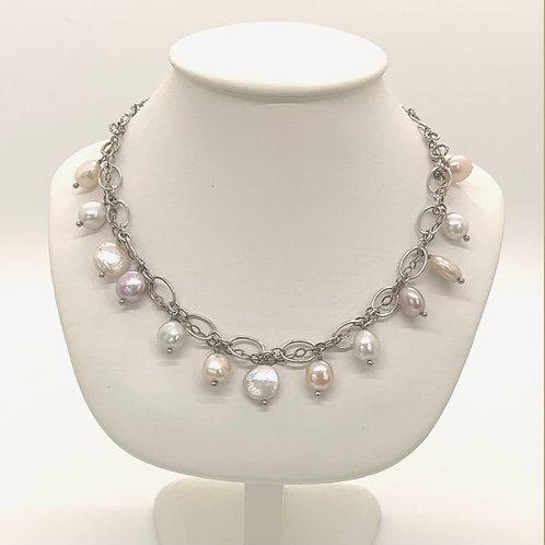 """18"""" Silver/Pearl Necklace (925)"""