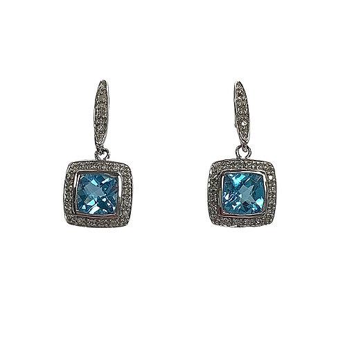 Sky Blue Topaz/Diamond Earrings (14K)