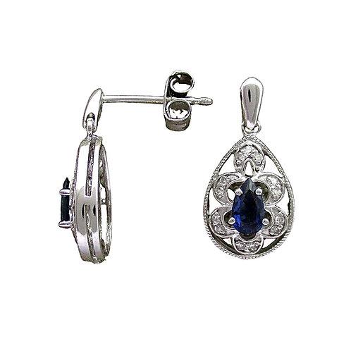Sapphire/Diamond Earrings (10K)