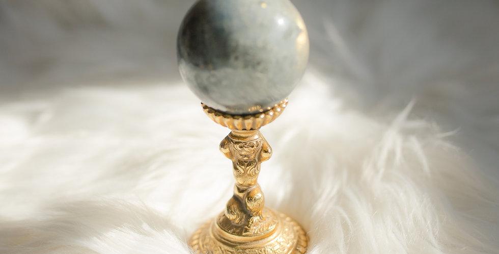 Labradorite Sphere with Italian Vintage Atlas Stand
