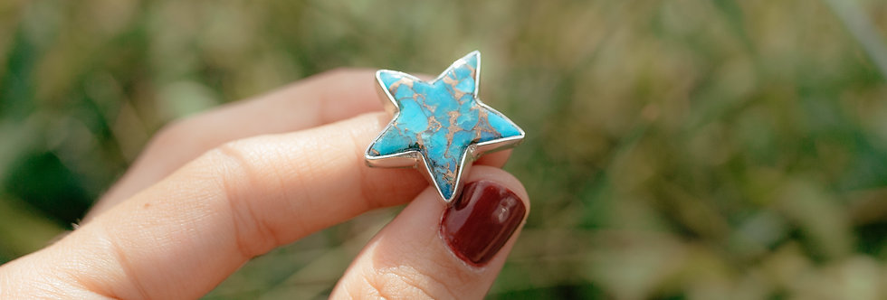 Genuine Turquoise and Copper Star Ring