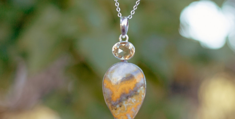 Bumblebee Jasper with Citrine Necklace