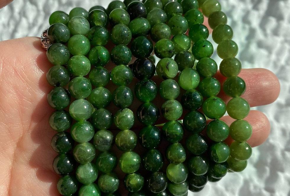 Nephrite Jade Beaded Bracelet