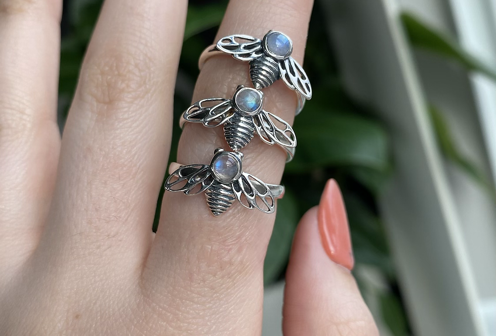 Moonstone Bee Ring
