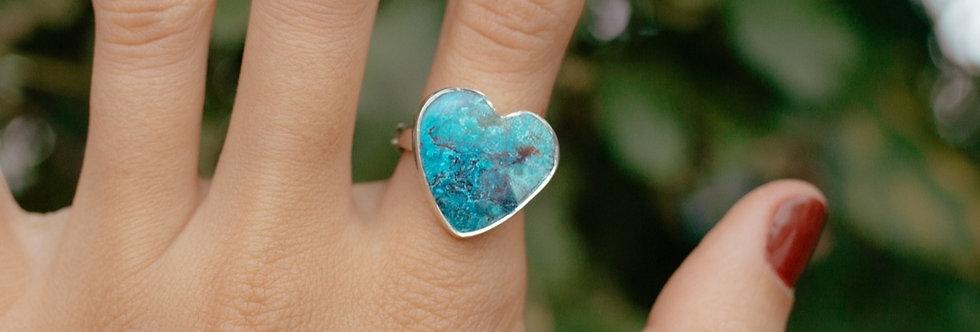 Shattuckite Heart Ring