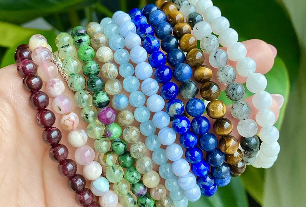 6mm Gemstone Beaded Bracelets