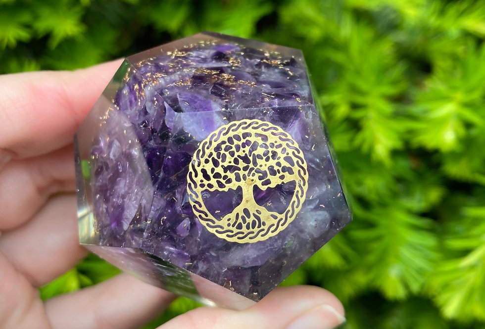 Amethyst Tree of life dodecahedron Orgonite