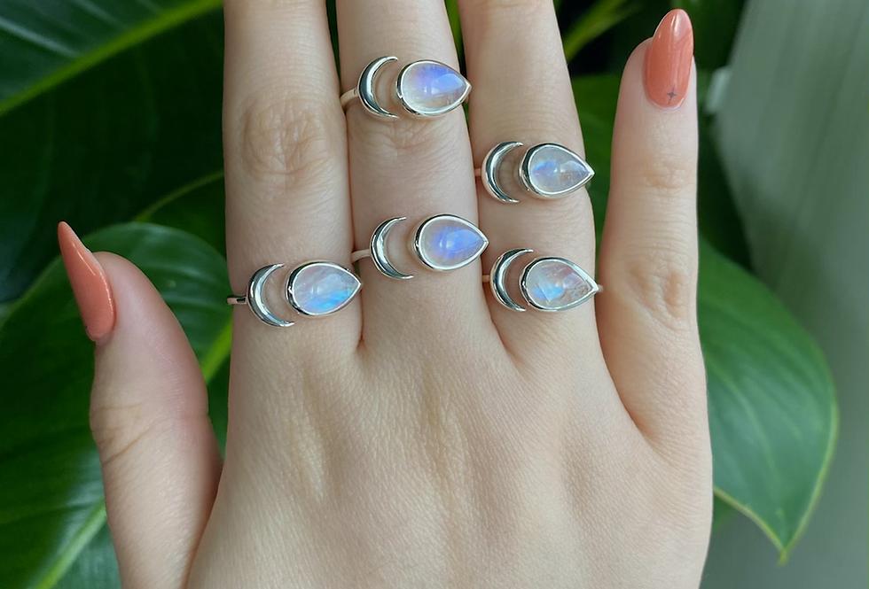 Crescent Moonstone Ring