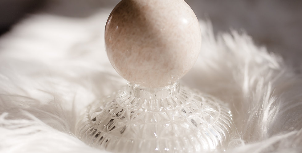 Peach Moonstone Sphere with Vintage Crystal Base