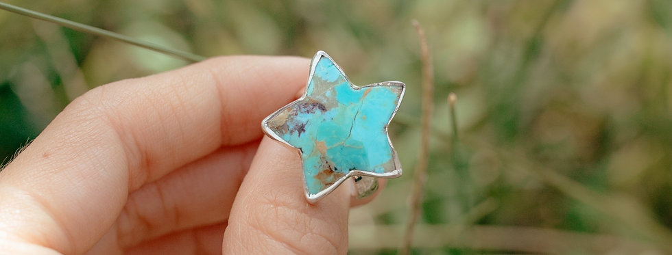 Genuine Turquoise Star Ring