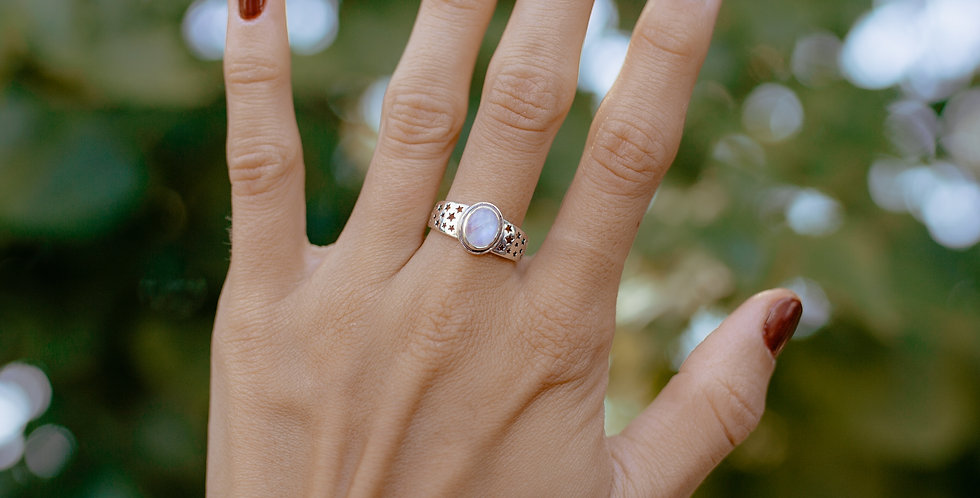 Moonstone Oval Ring with Stars