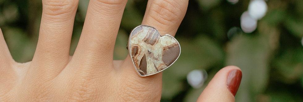 Septarian Calcite Heart Ring