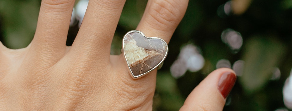 Septarian Calcite Heart Ring
