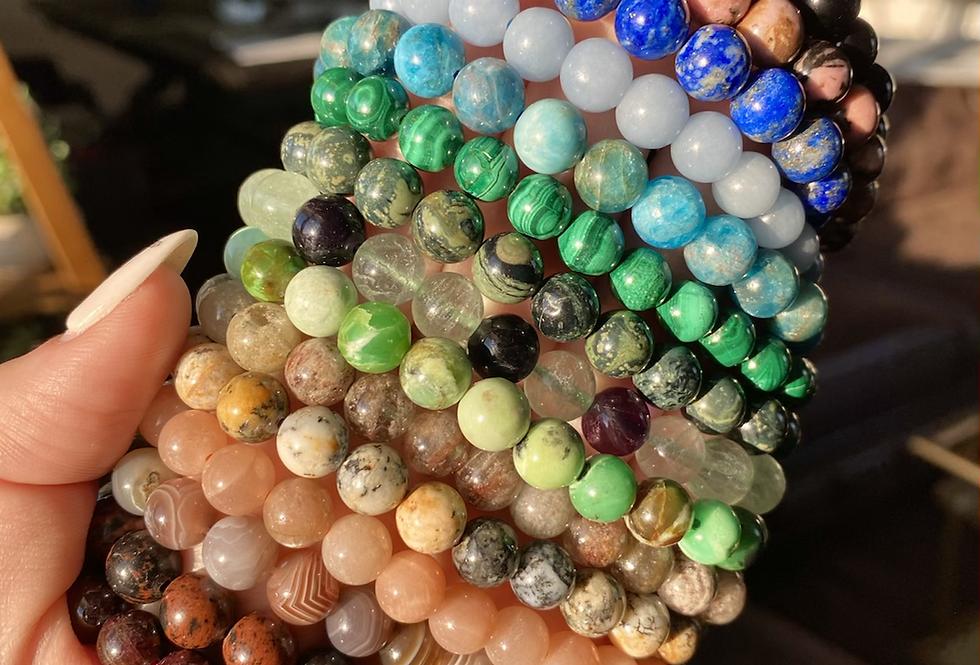 8mm Gemstone Beaded Bracelet