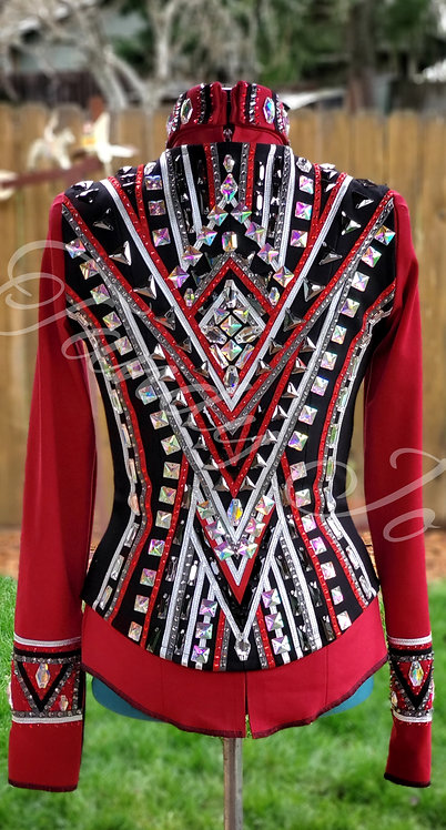 Red Silver Charcoal vest Simple Chic Set