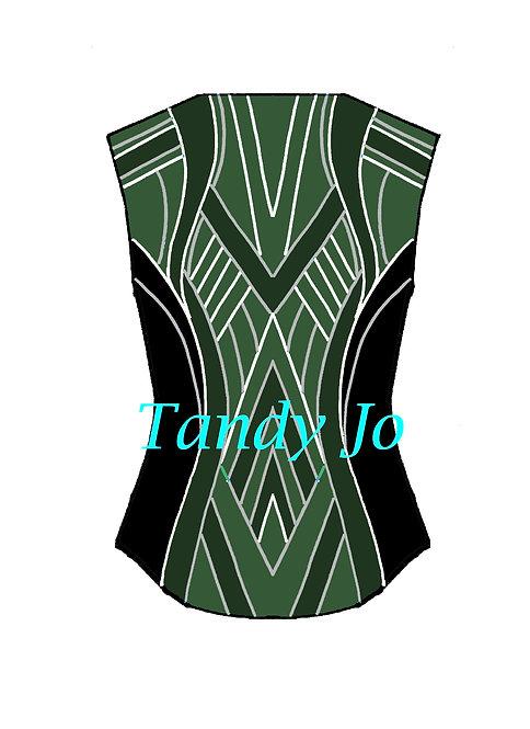 Black - White - Silver - Green Tones VEST: Designer Code: DKMR