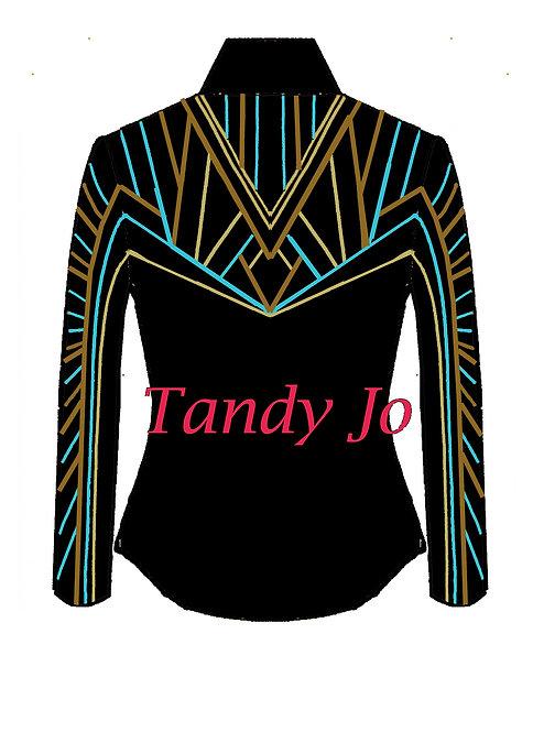 Black - Turquoise - Moccasin - Gold: Designer Code: JUMT