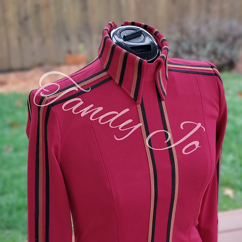 Solid classy stretch Horsemanship Day Shirt- Red/Black/Rust -Ready to crystal