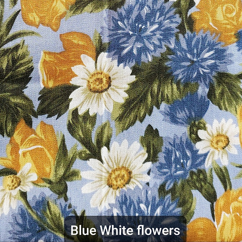 Face mask - Blue White Flowers