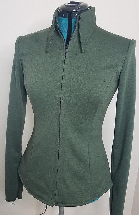 Solid Olive Front Zip Jacket
