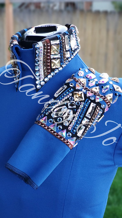 Royal blue Back zip Embellished collar/cuffs:  READY TO SHIP